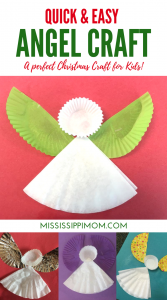 Christmas Angel Craft for KIds | Coffee Filter Angel Craft | Muffin Liner Angel Wings Christmas Craft